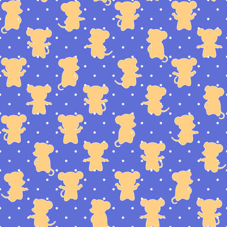 vector mice on polka dot repetitive background. color animals. baby seamless pattern. fabric swatch. wrapping paper. continuous print. design element for home decor, apparel, phone case, textile 向量圖像