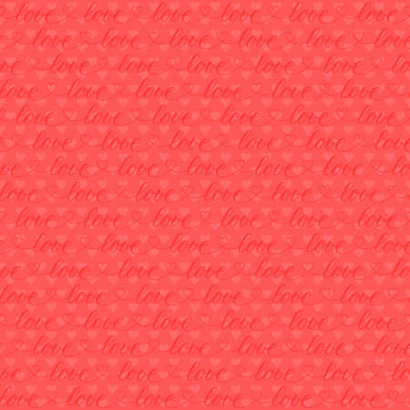 word love and heart shape repeated continuously. vector seamless pattern. pink valentines repetitive background. textile paint. fabric swatch. wrapping paper. continuous print. design template for card 向量圖像