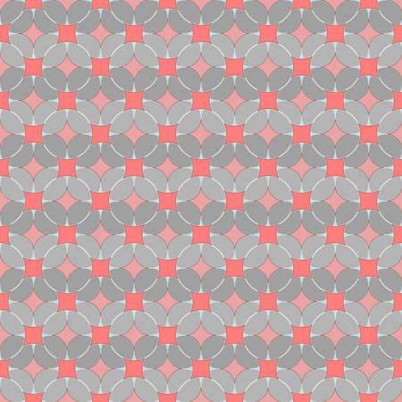 abstract circles. vector seamless pattern. pink and gray repetitive background. fabric swatch. wrapping paper. continuous print. geometric shapes. design element for home decor, textile, apparel 向量圖像
