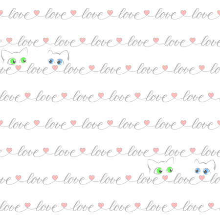 gray word love, pink heart shapes, cats repeated continuously. vector seamless pattern. valentines repetitive background. fabric swatch. wrapping paper. continuous print. wedding card design template 向量圖像