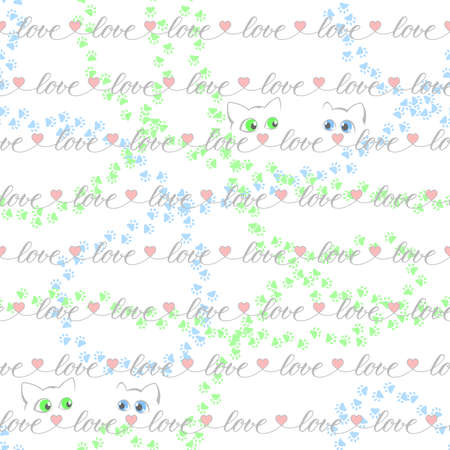 dating concept. gray word love with pink heart shapes and cats repeated continuously. vector seamless pattern. valentines repetitive background. fabric swatch. wrapping paper. continuous print