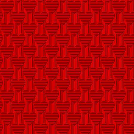 red striped hearts on repetitive corrugated background. simple shapes. vector seamless pattern. valentines card. textile paint. fabric swatch. wrapping paper. continuous print. design template 向量圖像