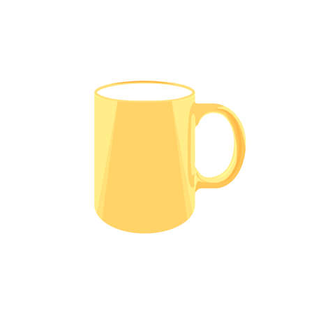 yellow mug. a cup of coffee or tea. color illustration. mockup for branding. vector template. single object on transparent background 向量圖像