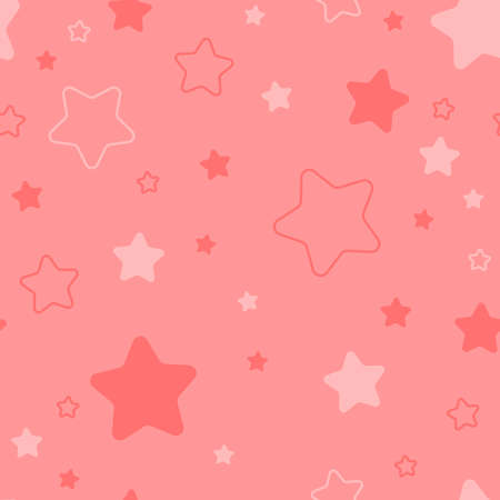 baby repetitive background with cute stars. vector seamless pattern. coral fabric swatch. wrapping paper. modern stylish texture. continuous print. design template for textile, apparel, home decor 向量圖像