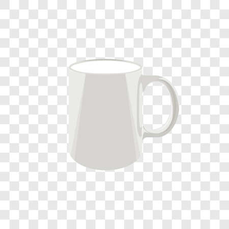white mug. a cup of coffee or tea. color illustration. mockup for branding. vector template. single object on transparent background