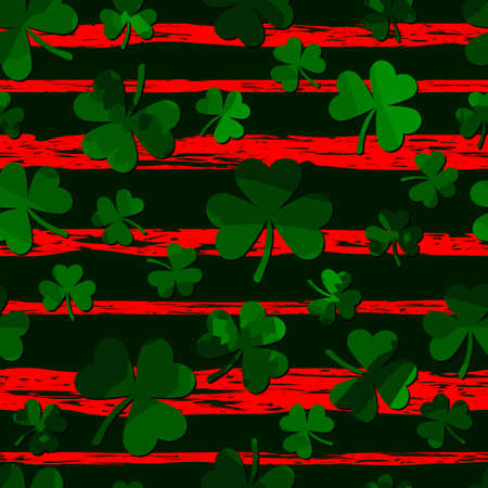 green motley shamrock shapes on red grungy stripes. vector seamless pattern. 向量圖像