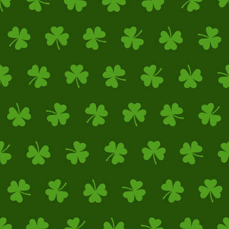 green repetitive background with shamrock shapes. vector seamless pattern.