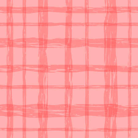 pink plaid material. repetitive background with crossing grungy lines. vector seamless pattern. fabric swatch.