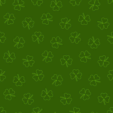 green repetitive background with shamrock outlines. vector seamless pattern. saint patrick's day.
