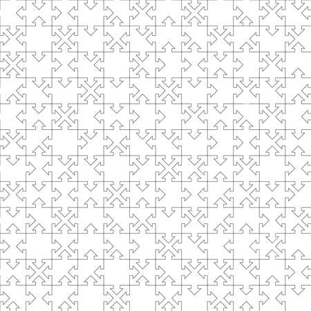 jigsaw puzzle template. arrow and square shapes. vector seamless pattern. every piece is a single shape. metaphor of union, network, solution, connection. simple black and white repetitive background 向量圖像