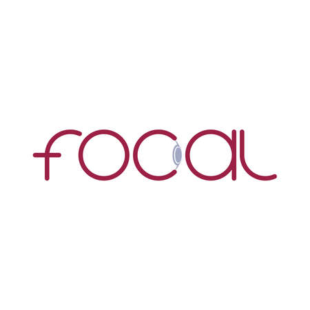 focal word with eye symbol. bold smart text. business logotype. vector design template. brand identity concept. gray and maroon illustration 向量圖像