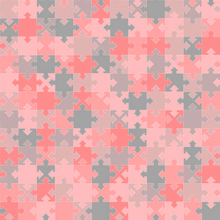 jigsaw puzzle template. arrow and square shapes. vector seamless pattern. geometric shapes. pink and gray baby repetitive background. fabric swatch. continuous print. modern stylish texture 向量圖像