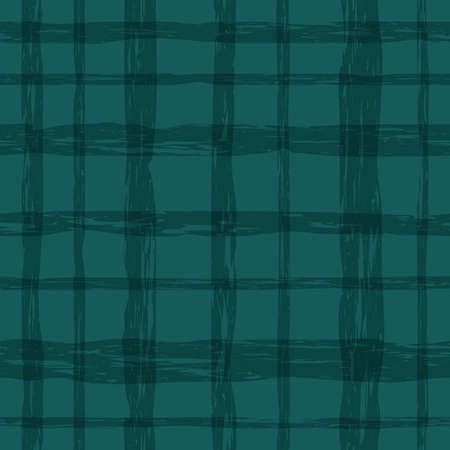 sea-green plaid material. repetitive background with crossing grungy lines. vector seamless pattern. fabric swatch. wrapping paper. continuous print. design element for home decor, apparel, cloth
