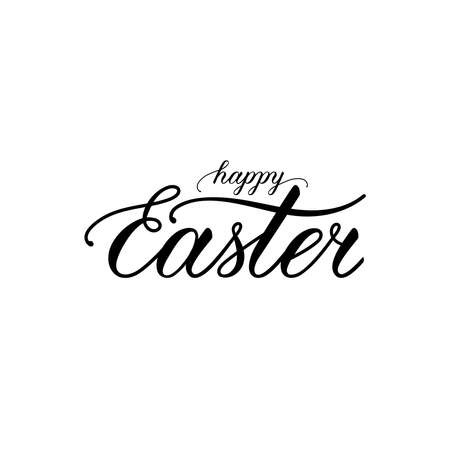Happy Easter lettering. handwritten calligraphic text. design element for greeting card, banner, invitation, postcard, vignette, flyer. black and white vector illustration 向量圖像