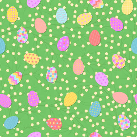 spring repetitive background with flowers and easter eggs. vector seamless pattern. fabric swatch. wrapping paper. modern stylish texture. continuous print. flat design element for decor, textile