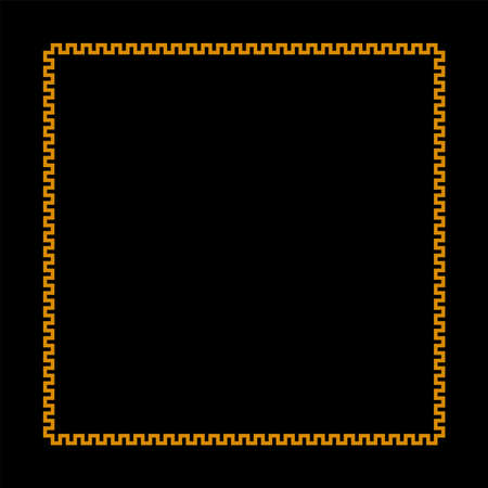 square frame with meander pattern. greek fret repeated motif. greek key. gold meandros decorative border on black background. classic ornament. vector template 向量圖像