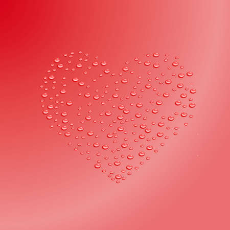 heart outline from water drops on a red background Vector Stock Vector - 15005636