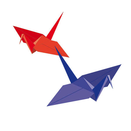 origamis  two birds from paper on a white background Vector Stock Vector - 15005628