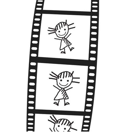 the drawn girl on a film  Vector illustration