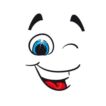 oeil dessin: Enthousiaste caricature sur un fond blanc Vecteur