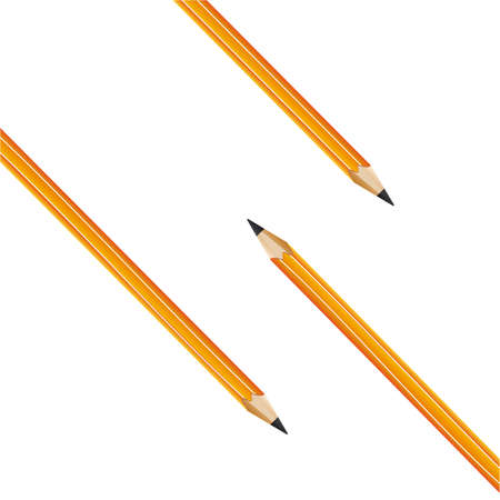 composition from three yellow pencils on a white background  Vector Illustration