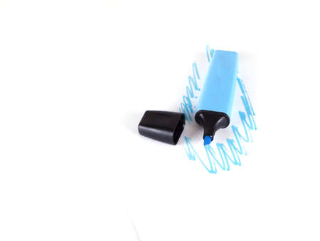 blue marker and the drawn dark blue lines on a white background Stock Photo
