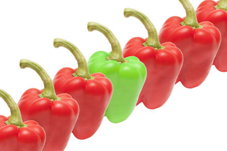 composition of vegetable green peppers and six red peppers on a white background