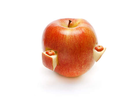 fruit composition from apple on a white background