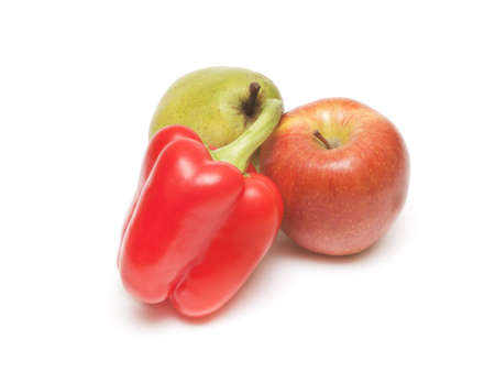 Fruit composition of apple pear and pepper on a white background