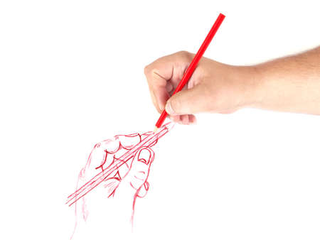 human hand drawing a pencil picture on a white background Stock Photo