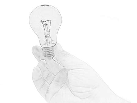 human hand holding a green bulb on a white background