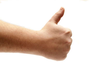 mans human hand holding a finger up on a white background
