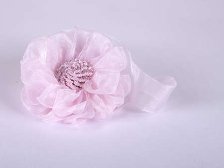 pink flower from a fabric on a gray background Stock Photo
