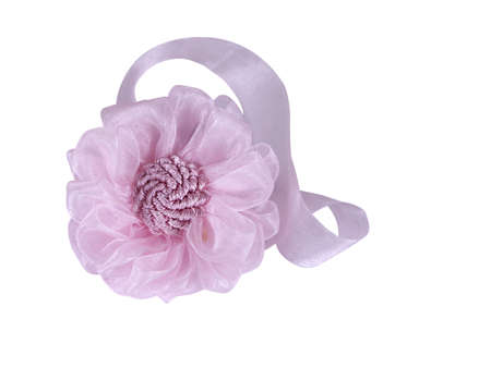 pink flower from a fabric on a white background Stock Photo