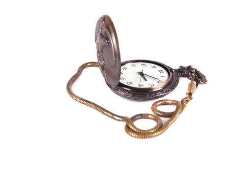 composition from a pocket watch on a white background Stock Photo