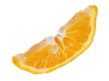 ripe orange slice on white background