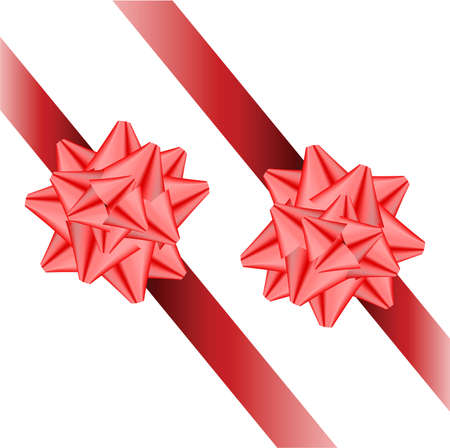 two ribbons with bows on a white background.