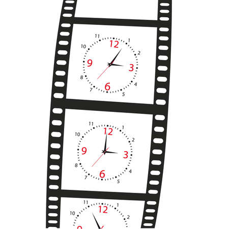 watch new year: hours on a film shot on a white background. Illustration