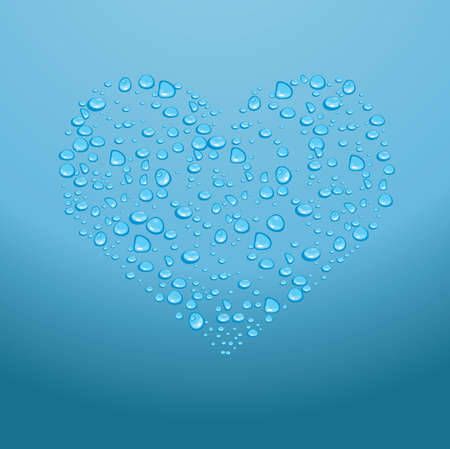 Water drops on red heart on a blue background
