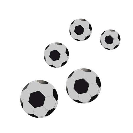 five footballs on a white background.  Illustration