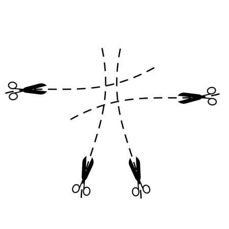 ciach: Sylwetka nożyczek i skoku linii na białym tle. Ilustracja