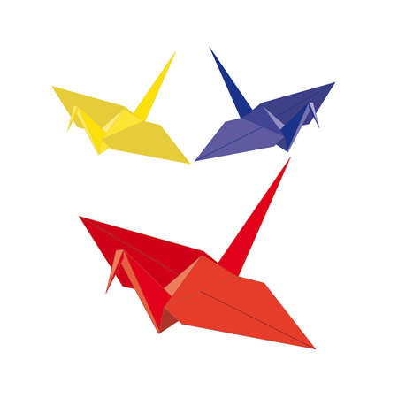 origamis. three birds from paper on a white background  Stock Vector - 15603011