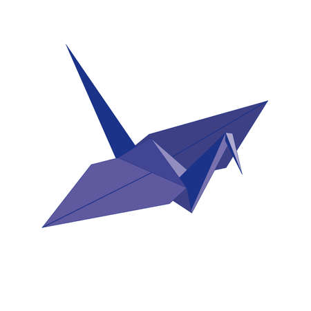 origami. blue bird of paper on a white background Vector