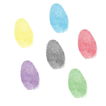 six color prints of forefingers on a white background