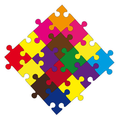 composition from color puzzles on a white background