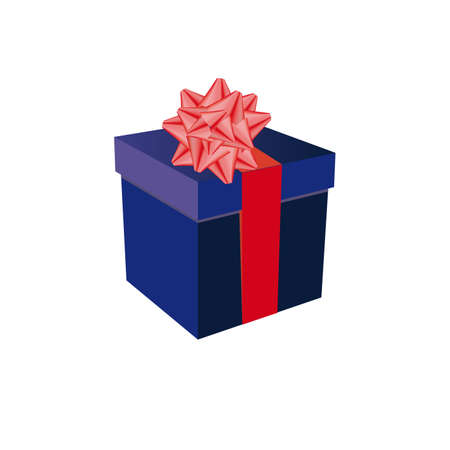 blue gift box and a red bow on a white background