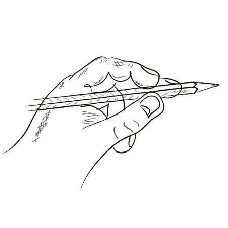human hand and pencil on a white background