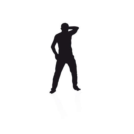 black silhouette of a man dancing on a white background Stock Vector - 15603015