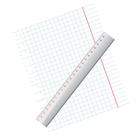 writing-book leaf in a cage and a ruler on a white background