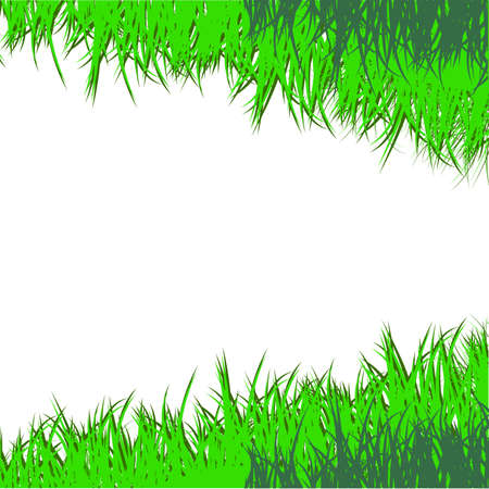 The drawn green grass on a white background